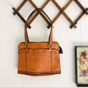 Vintage Tan Woven Leather Shoulder Bag